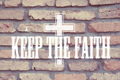Keep The Faith Quote with Christ Cross Stock Photo