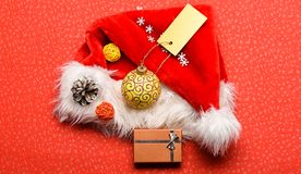 Keep family traditions. Christmas presents from santa. Attributes of winter holidays. New year and christmas decorations stock image