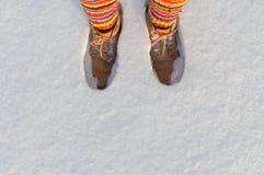 Keep feet warm in winter Stock Photo