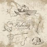 Keep fishing sketch Royalty Free Stock Photography