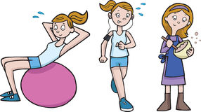 Keep Fit and Baking Mother cartoon Stock Photography