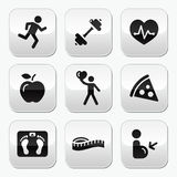 Keep fit and healthy icons on glossy buttons Royalty Free Stock Photography