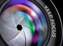 Keep Focus Concept on Professional Photo Lens. 3D Illustration. Royalty Free Stock Photo