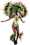 Keep follow my dance steps. Image of a samba woman dancing isolated over white Royalty Free Stock Images