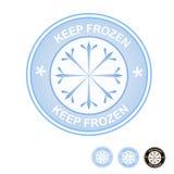 Keep frozen food packaging round blue label badge royalty free illustration