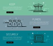 Keep funds securely. Flat line vector web banners set Stock Images