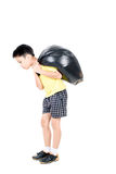 Keep garbage in bag for eliminate. Young asian boy carry garbage in plastic bag for eliminate on the white background Stock Photos