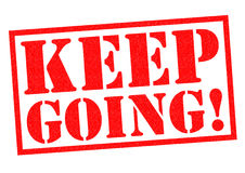 KEEP GOING!. Red Rubber Stamp over a white background Stock Images