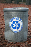 Keep It Green. Recycling trash can at a park, everyone works together to keep the earth clean Royalty Free Stock Photography