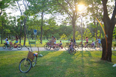 Keep healthy. In the park by cycling , running Royalty Free Stock Photos