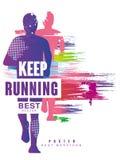 Keep kann laufende bestes gesign bunte Plakatschablone für Sportereignis, Marathon, Meisterschaft, für Karte, Fahne benutzt werde stock abbildung