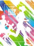 Keep kann laufendes Logo gesign, buntes Plakat für Sportereignis, Marathon, Meisterschaft, für Karte, Fahne, Druck benutzt werden lizenzfreie abbildung