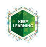 Keep Learning floral plants pattern green hexagon button stock image