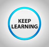Keep Learning Round Blue Push Button royalty free illustration