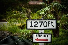 Keep Left and 1270ft Stock Photography