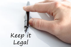 Keep it legal text concept Stock Image