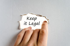 Keep it legal text concept. Isolated over white background royalty free stock photography