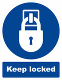 Keep locked. Vector sign on white background stock illustration