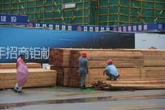 Keep the material workers on construction sites in shenzhen Stock Image