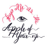 Keep me as the apple of your eye calligraphy design as Christian Bible verse psalm 17 Stock Images