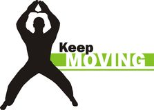 Keep moving 4. This is a silhouette of a person practicing yoga, dance and other moviments Royalty Free Stock Photo