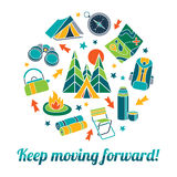 Keep moving forward. Colourful vector flat illustration with set of camping equipment royalty free illustration