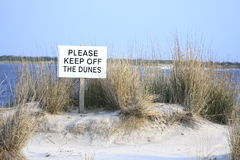 Keep off dunes. Sign on the beach to keep of sand dunes Stock Photos