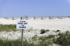 Keep off the dunes prohibited sign Stock Photography