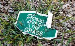 Keep off the grass, landscaping sign. Stock Photo