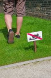 Keep off grass. Man does not respect the ban on entry on the lawn Stock Photography