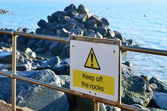 Keep off rocks sign Stock Image