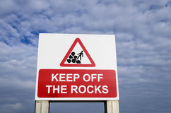 Keep off the rocks sign Royalty Free Stock Photo