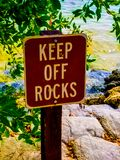 Keep off the Rocks. Visitors must keep off the rocks Stock Images