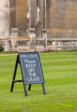 Keep off sign. At King's college Royalty Free Stock Photo