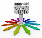 Keep an Open Mind 3d Words Accepting New Ideas Non Judgmental Stock Photos