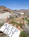 Keep out. Old mine near Virginia City in Nevada that is now closed with signage to keep out stock photo