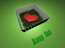 Keep out any love. 3D heart inside close fence. Text - Keep Out Stock Photography