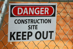 Keep out. Danger construction keep out sign Royalty Free Stock Photos