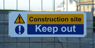 Keep Out Sign. A sign indicating that people should keep out of construction site royalty free stock images