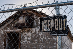 Keep Out Sign, Abandoned Building Stock Images