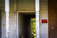 Keep Out sign on an abandoned house in Bairs, Pennsylvania. Stock Photo