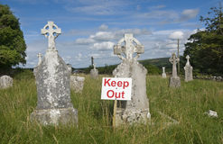 Keep out sign on a cemetery Stock Photography