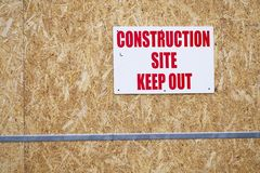 Keep out sign at construction building site stock image