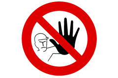 Keep out sign. Keep out, sign with man with large black hand. In black and white with red border Royalty Free Stock Image
