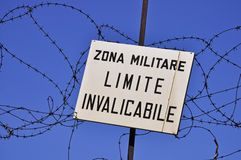 Keep out sign of military area Stock Photography