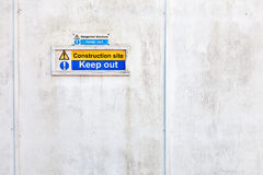 Keep Out Sign on White Wooden Panel Stock Photography