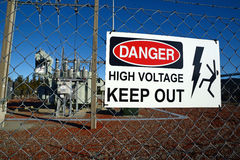 Keep out. Signage warns people against accessing an electrical sub-station Royalty Free Stock Photos