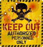 Keep out. Warning sign w. bullet holes, vector Royalty Free Stock Photography