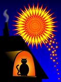 Keep pets indoors during fireworks. Cat watching fireworks. Keep pets indoors during fireworks. Please remember animals are afraid of fireworks Royalty Free Stock Photo