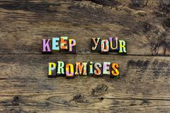 Keep promise honesty integrity heart typography stock image